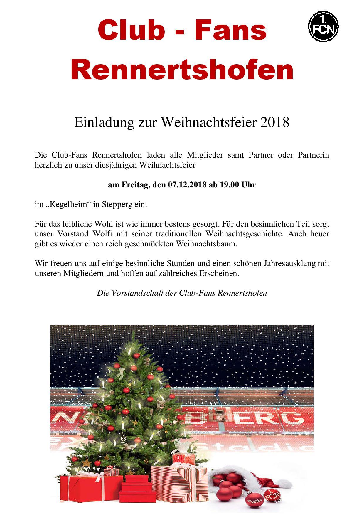 Weihnachtsgeschichte Weihnachtsfeier.Clubfans Rennertshofen Weihnachtfeier 2018